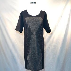 Lane Bryant Black Gray Lace Shirt Sleeve Dress